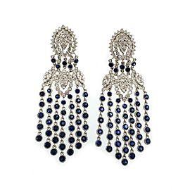 Estate 17.4ct Diamond Sapphire 18k White Gold Chandelier Earrings