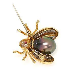 Estate Diamond Ruby South Sea Pearl 18k Yellow Gold Bee Brooch