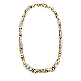 """Braccio 14k Two Tone Gold Men's Hefty Cylinder Coil Link Necklace 163gr 20"""" Long"""
