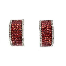 Elegant 6.74ct Diamond padparadscha Sapphire 18k White Gold Wide Hoop Earrings