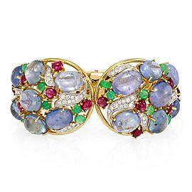 Sabbadini 148.96ct Diamond & Gems 18k Gold Large Floral Cuff Bracelet
