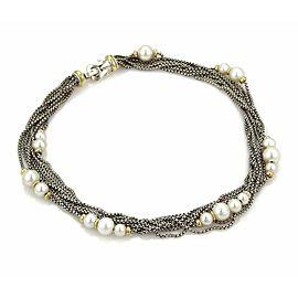 David Yurman Pearls 18k YGold & Silver Multi-Strand Box Link Chain Necklace