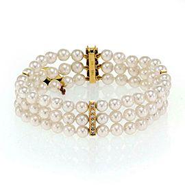 Mikimoto Akoya Pearls Diamond 18k Yellow Gold Triple Stand Bracelet