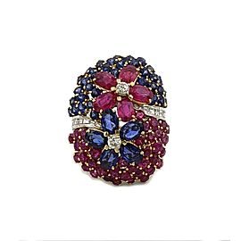 Stunning 13ct Ruby Sapphire Diamonds 14k White Gold Floral Long Dome Ring