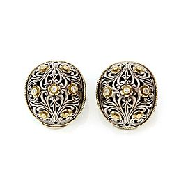 Konstantino Diamond 925 Silver 18k Gold Floral Dome Clip On Earrings
