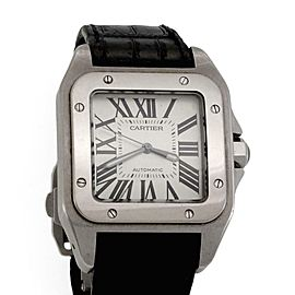 Cartier Santos 100 Automatic Steel & Leather Band Men's Watch 2656 XL