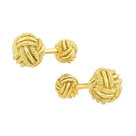 Tiffany & Co. Schlumberger 18k Yellow Gold Woven Ball Knot Stud Cufflinks