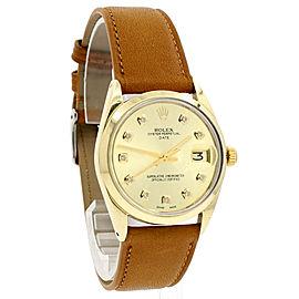 ROLEX Oyster Perpetual Date 34mm Gold Shell Diamond Men's Watch Ref: 1550
