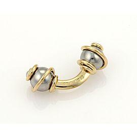 Louis Vuitton 18k YGold & SSteel Swirl Design Double Stud Cufflinks w/Case