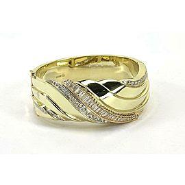 Large 3.50ct Diamond 14k Yellow Gold Wide Fancy Design Bangle Bracelet