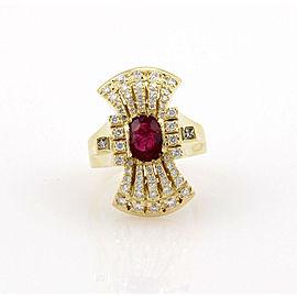 Estate 18K Yellow Gold Ruby Diamond Cocktail Ring