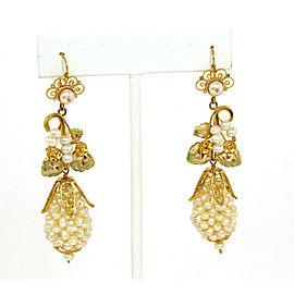 Estate Freshwater Pearls 10k Yellow gold Floral Drop Dangle Earrings