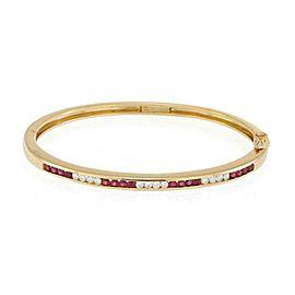 Tiffany & Co. 1.80ct Diamond Ruby 18k Yellow Gold Bangle