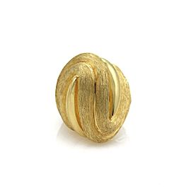 Henry Dunay 18k Yellow Gold Large Dome Ribbed Design Textured Ring Size 6.5