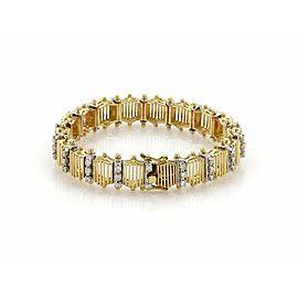Estate 1.10ct Diamond 18k Two Tone Gold Fancy Cage Link Design Bracelet