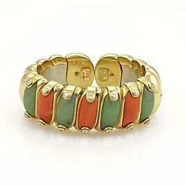 Piero Milano 53.71ct Diamond Coral & Agate 18k Gold Large Flex Cuff Bracelet