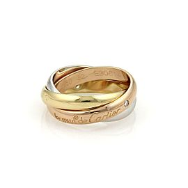Cartier Trinity Diamond 3.5mm Rolling Band Ring Size EU 52-US 6