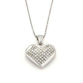 18k White Gold 2.5ct Princess Cut Diamond Heart Pendant 14k Gold Chain