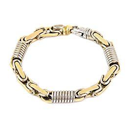 "Braccio 14k Two Tone Gold Men's Hefty Cylinder Coil Link Bracelet 75gram 8.5"" L"