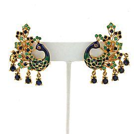 6ct Sapphire & Emerald Enamel 22k Yellow Gold Peacock Post Clip Earrings