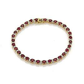 18k Two Tone Gold 7.2ct Ruby & Diamond Tennis Bracelet