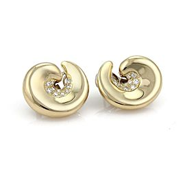 Fabian Diamond 18k Yellow Gold Curved Contour Post Clip Earrings