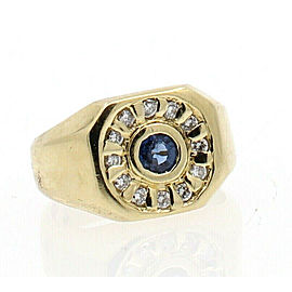 Fine Estate 14k Yellow Gold Diamond Blue Sapphire Men's Ring Size 8.5