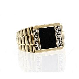 10k Yellow Gold Onyx Diamond Ring 5.3 Grams Size 9