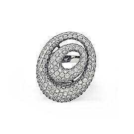 Estate 18K White Gold Diamond Swirl Ring