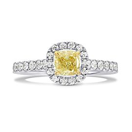 Leibish 18K White and Yellow Gold Fancy Yellow Cushion Diamond Halo Ring Size 6