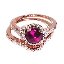 14K Rose Gold 1.70ct Ruby & 0.60ct Diamond Ring Size 7