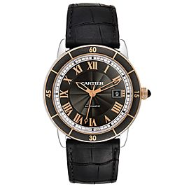 Cartier Ronde Croisiere Steel Rose Gold Grey Dial Mens Watch W2RN0005