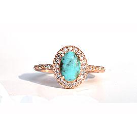 Natural Turquoise 18k Rose Gold Halo Diamond Engagement Ring
