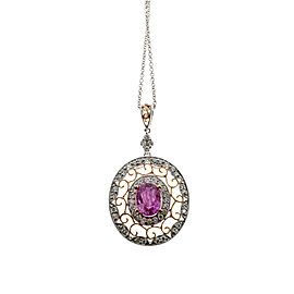 18K Rose and White Gold Pink Sapphire & Diamond Pendant Vintage Necklace