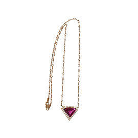 14K Rose Gold with 4.33ct Pink Tourmaline Rubelite & Diamond Pendant Necklace