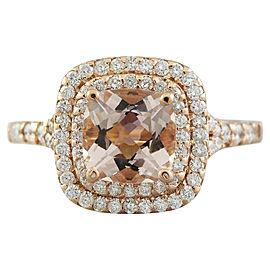 2.25 Carat Morganite 14K Rose Gold Diamond Ring
