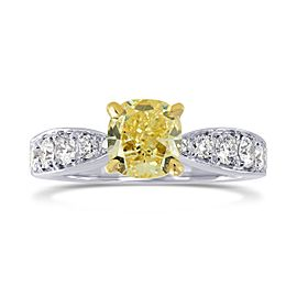 Leibish 18K White and Yellow Gold with 1.31ctw Cushion Diamond Ring Size 6