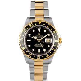 Rolex GMT-Master II 16713 Stainless Steel & 18K Yellow Gold Black Dial Manual 40mm Mens Watch