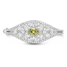 Leibish 18K White Gold with 12.53ctw Oval & Rose Cut Diamond Bangle Bracelet