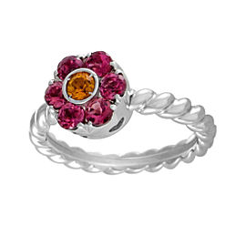 Pasquale Bruni Fiori 18K White Gold Tourmaline and Citrine Flower Ring Size 9.0