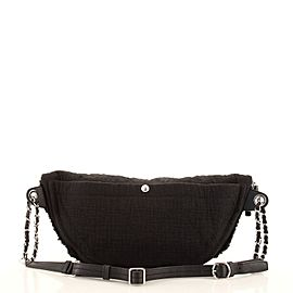 Chanel Double Face Waist Bag Fringe Quilted Canvas