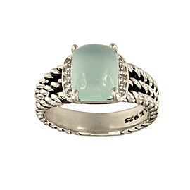David Yurman 925 Sterling Silver Blue Chalcedony 0.08ctw. Diamonds Petite Wheaton Ring Size 7