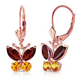 1.24 CTW 14K Solid Rose Gold Butterfly Earrings Garnet Citrine