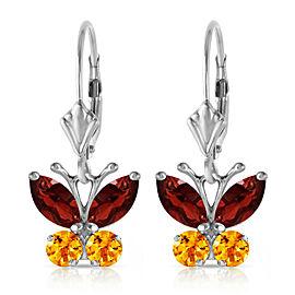 1.24 CTW 14K Solid White Gold Butterfly Earrings Garnet Citrine