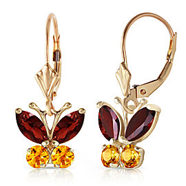 1.24 CTW 14K Solid Gold Butterfly Earrings Garnet Citrine