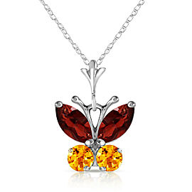 0.6 CTW 14K Solid White Gold Butterfly Necklace Garnet Citrine