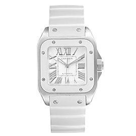 Cartier Santos 100 White Rubber Strap Steel Ladies Watch W20129U2