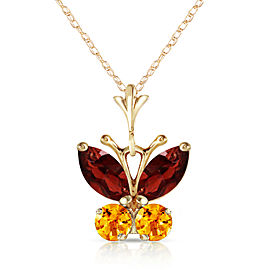 0.6 CTW 14K Solid Gold Butterfly Necklace Garnet Citrine