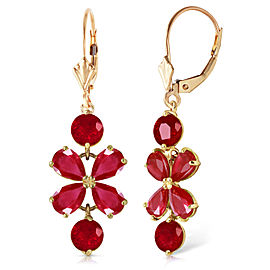 5.32 CTW 14K Solid Gold Chandelier Earrings Natural Ruby