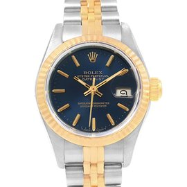 Rolex Datejust 69173 Stainless Steel and 18K Yellow Gold with Blue Dial Automatic 26mm Womens Watch